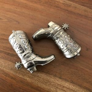 Antique Silver Plated Cowboy Boots
